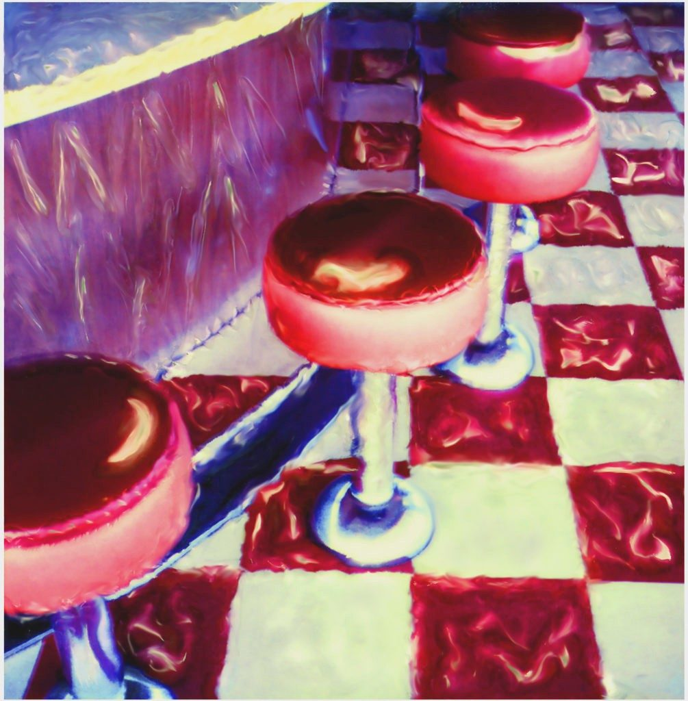 Diner stools photographed at The Wheel Restaurant, Sedalia, MO. Polaroid Time-Zero film was photographed with a Polaroid SX-70 camera, manipulated by hand upon development, and further enhanced on computer.